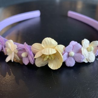 flower headband alice band mulberry flowers blossom cream lilac purple flower girl childrens summer wedding