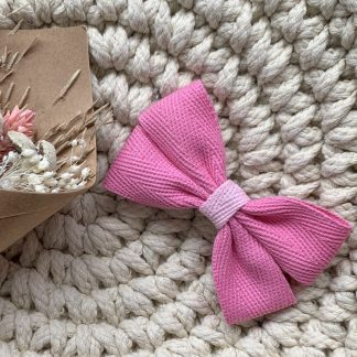 pink ribbon hair bow clip herringbone summer childrens
