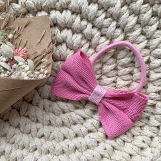 pink ribbon hair bow bobble herringbone summer childrens
