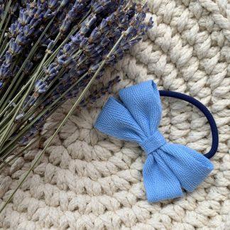 blue ribbon hair bow bobble herringbone summer childrens
