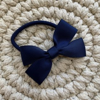 navy blue grosgrain ribbon hair bow bobble school bow uniform reception childrens