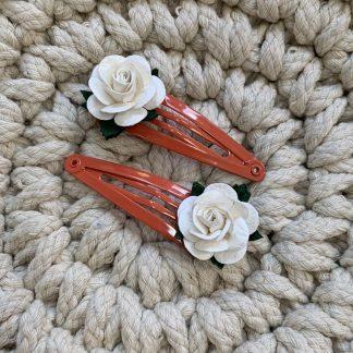 deep ivory mulberry rose fringe hair clip set snap clips red coral orange