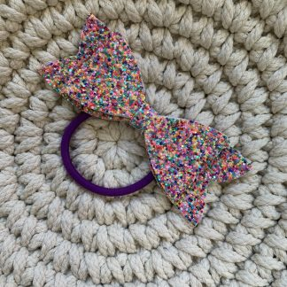 rainbow glitter hundreds and thousands large hair bow hair bobble party christmas childrens