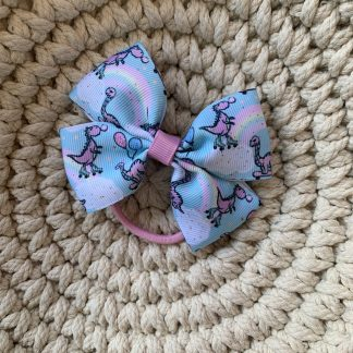 dinosaur party balloons pink blue grosgrain ribbon large hair bow bobble childrens
