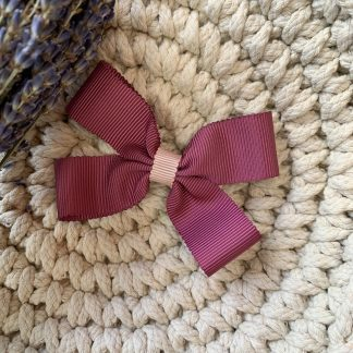 pink fuchsia large ribbon hair bow clip alligator clip childrens autumn party
