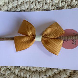 mustard ocre yellow grosgrain ribbon hair bow hairband newborn baby childrens autumn nylon