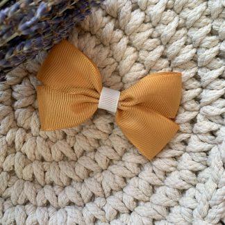 mustard ocre yellow grosgrain ribbon hair bow clip childrens autumn