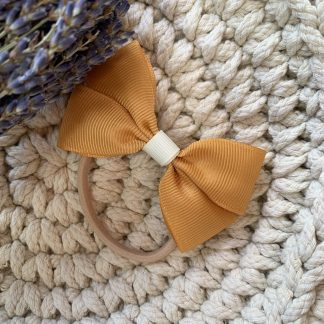 mustard ocre yellow grosgrain ribbon hair bow bobble childrens autumn