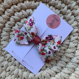 cream floral large hair bow clip childrens autumn grosgrain ribbon