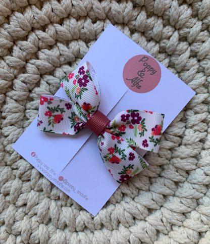 cream floral large hair bow clip childrens autumn grosgrain ribbon