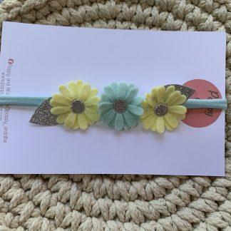 newborn felt flower headband glitter pastel colours yellow silver green duck egg summer spring