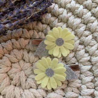 Yellow and glitter felt flower hair clip set fringe clips alligator clips