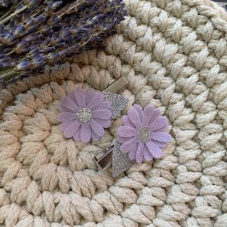 Mauve and glitter felt flower hair clip set fringe clips alligator clips