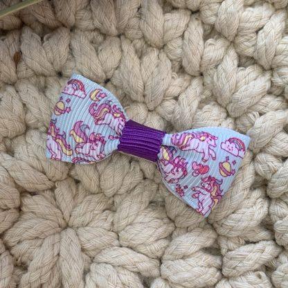 unicorn and rainbow hair bow hair clip purple blue mini bow