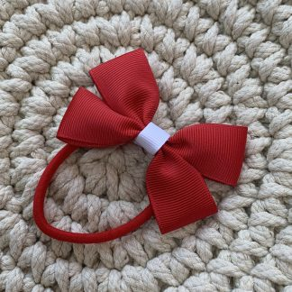 School uniform hair bow red and white hair bobble