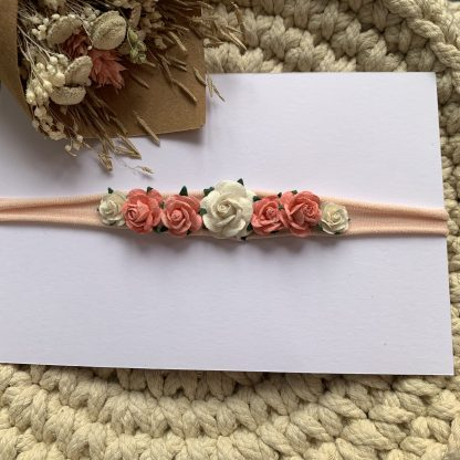 Mulberry Rose Floral Headband baby newborn childrens deep ivory coral flowergirl wedding nylon