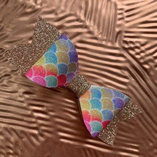 Rainbow Mermaid large Hair Bow Gold Glitter Childrens Hair Clip