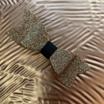 Classic Gold and Black Glitter Hair Bow hair clip shimmer sparkly childrens party christmas